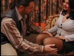 Voluptueus Spanish MILF in stockings fucks in hotel