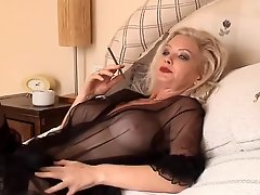 Hot Blonde Cougar Smoking Solo in Lingerie and Stockings